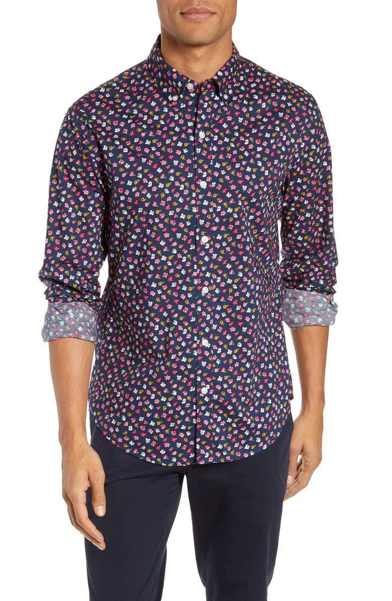 BONOBOS Washed Button Down Slim Fit Floral Print Sport Shirt, Main, color, 400