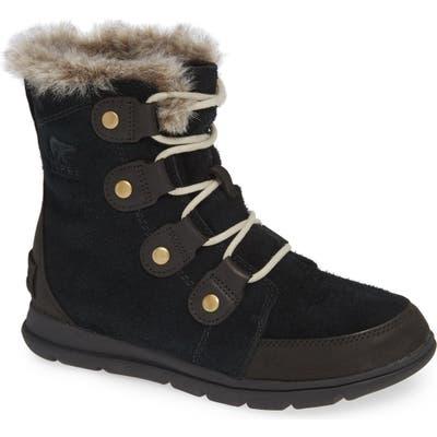 Sorel Explorer Joan Waterproof Boot With Faux Fur Collar, Black