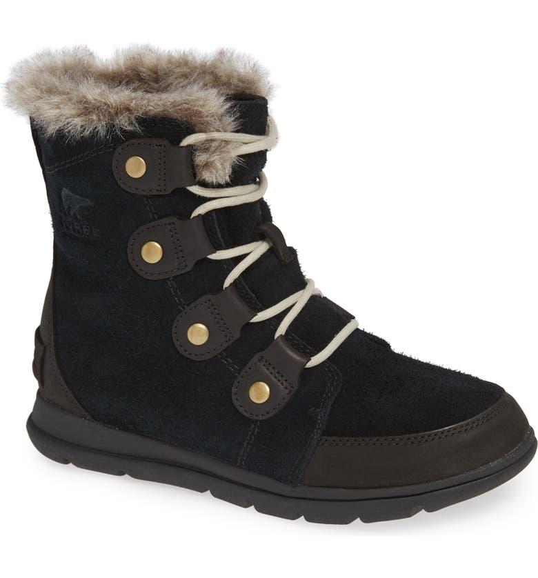 SOREL Explorer Joan Waterproof Boot with Faux Fur Collar, Main, color, BLACK/ DARK STONE