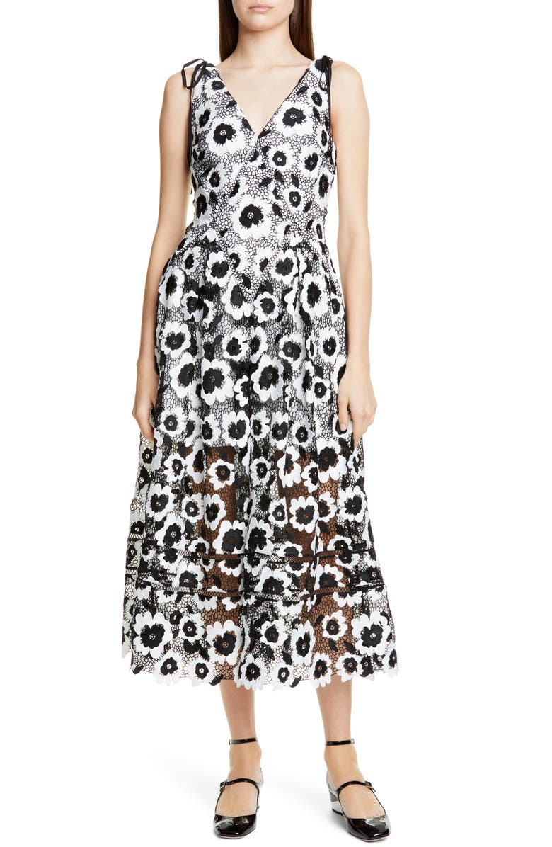 SELF-PORTRAIT Abstract Floral Guipure Lace Midi Dress, Main, color, IVORY/ BLACK