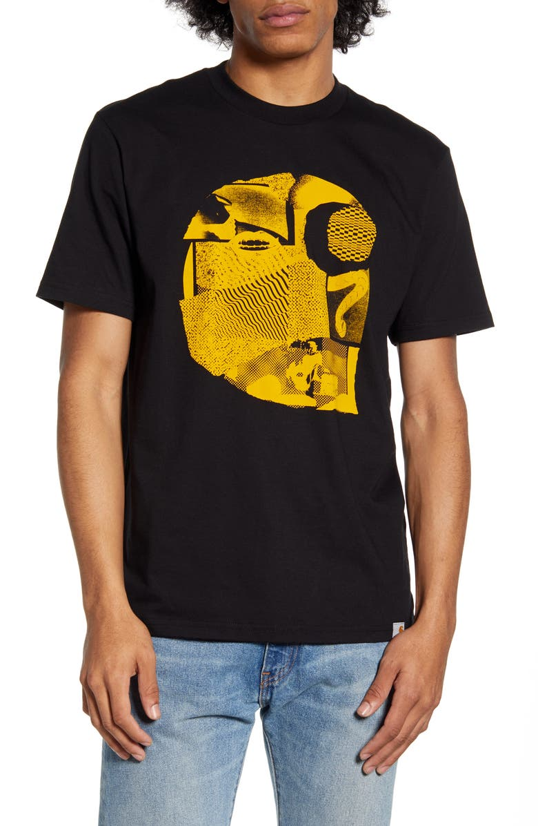 CARHARTT WORK IN PROGRESS Cutout Logo T-Shirt, Main, color, BLACK / YELLOW
