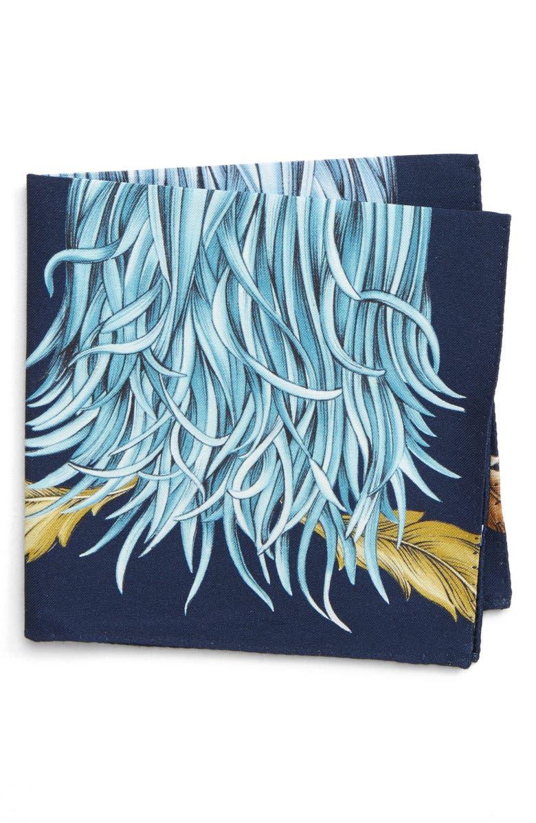 ETON Seaweed Cotton & Silk Pocket Square, Main, color, 400