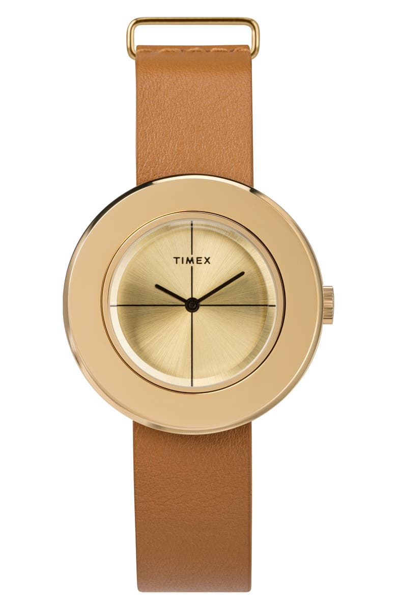 TIMEX<SUP>®</SUP> Variety Leather Strap Watch Set, 34mm, Main, color, TAN/ BLACK/ GOLD