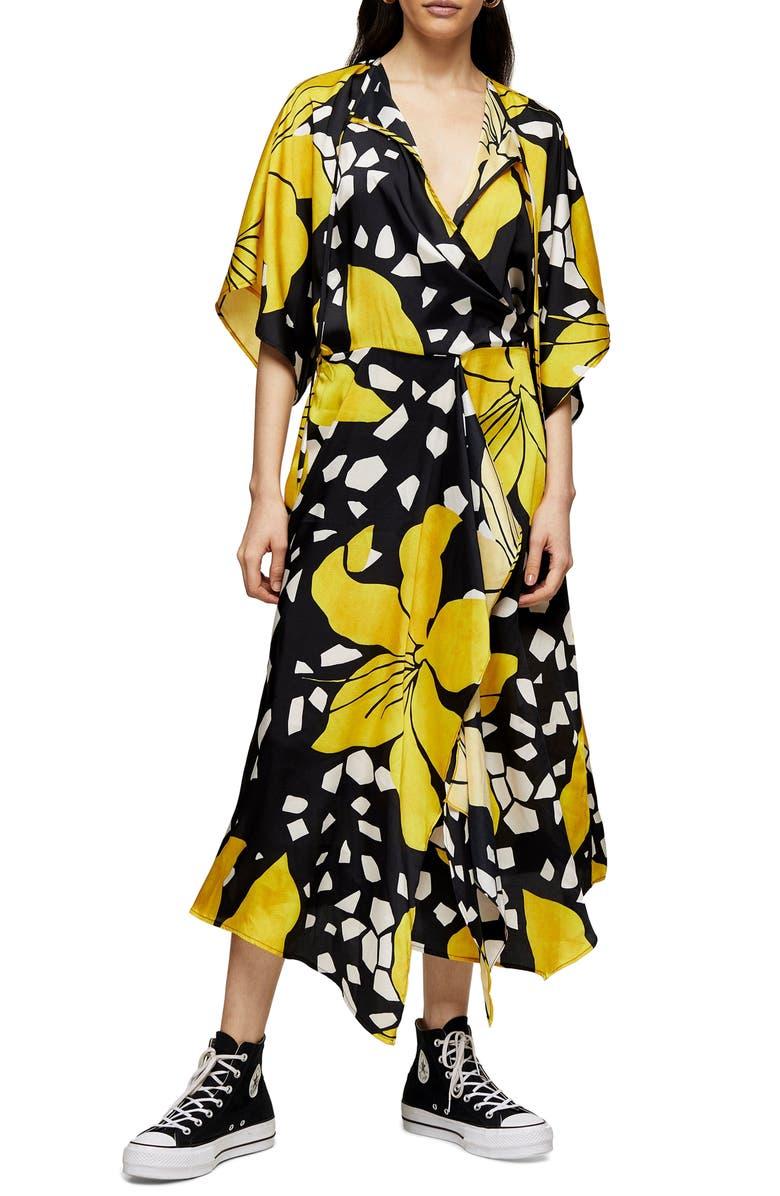 TOPSHOP BOUTIQUE Floral Print Midi Dress, Main, color, BLACK MULTI