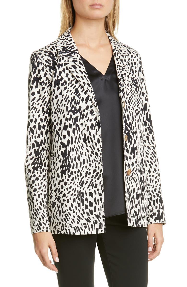 LAFAYETTE 148 NEW YORK Coleman Spot Print Jacket, Main, color, BLACK MULTI