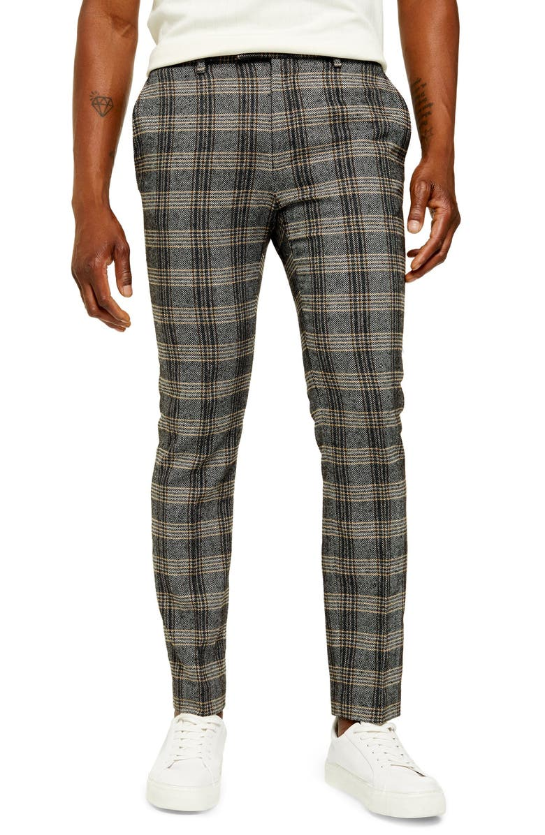 TOPMAN Juice Skinny Fit Plaid Herringbone Pants, Main, color, 020