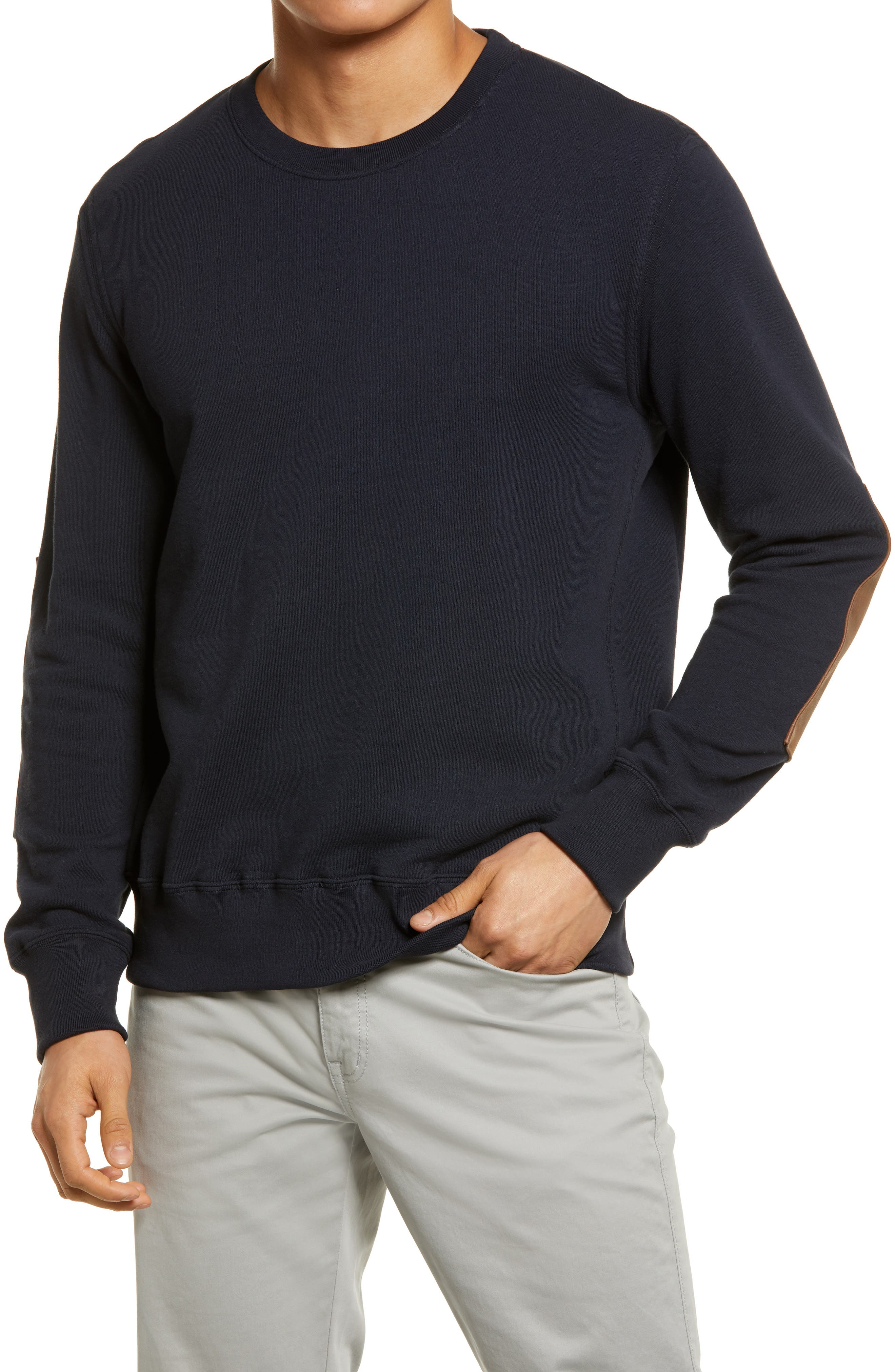 Dover Terry Crewneck Sweater With Leather Elbow Patches