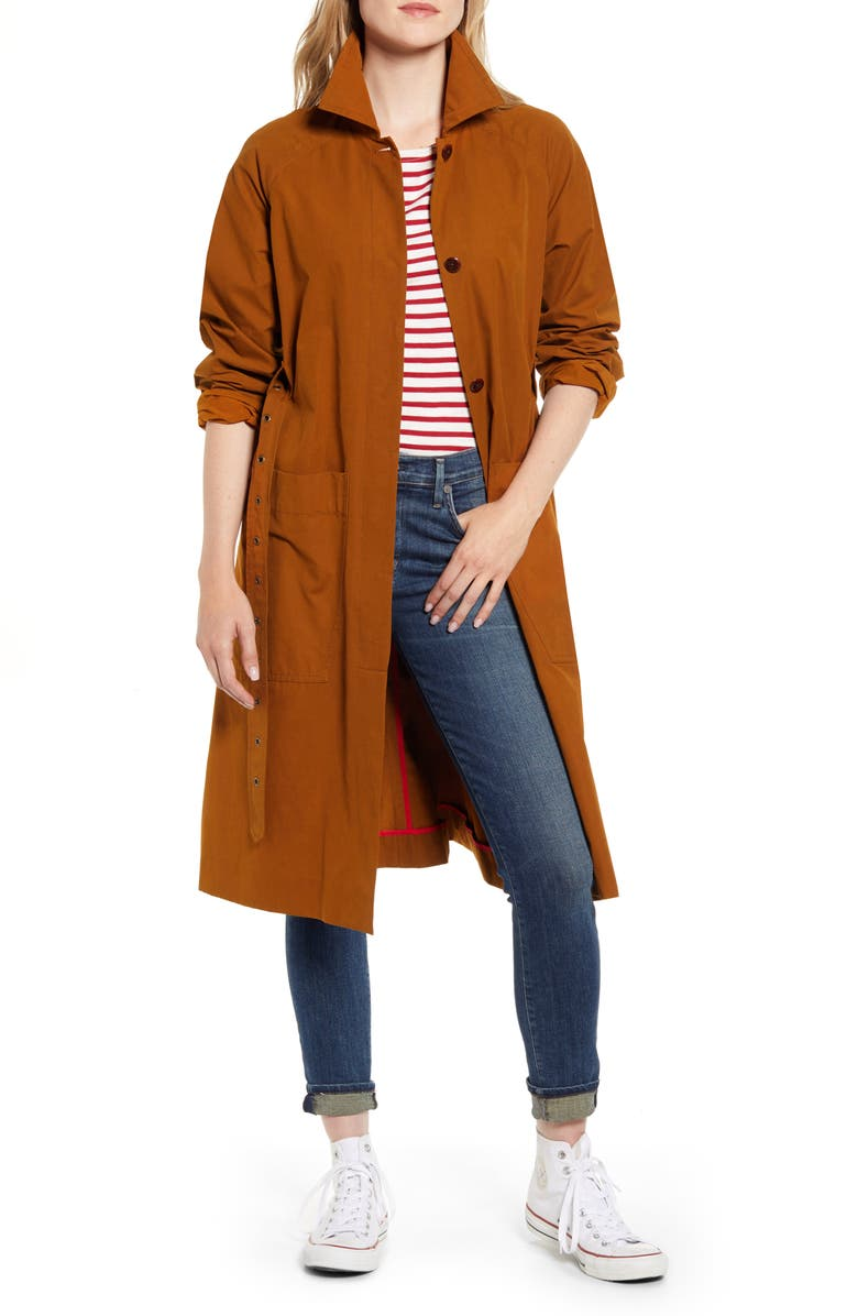 ALEX MILL Belted Trench Coat, Main, color, RUSSET BROWN