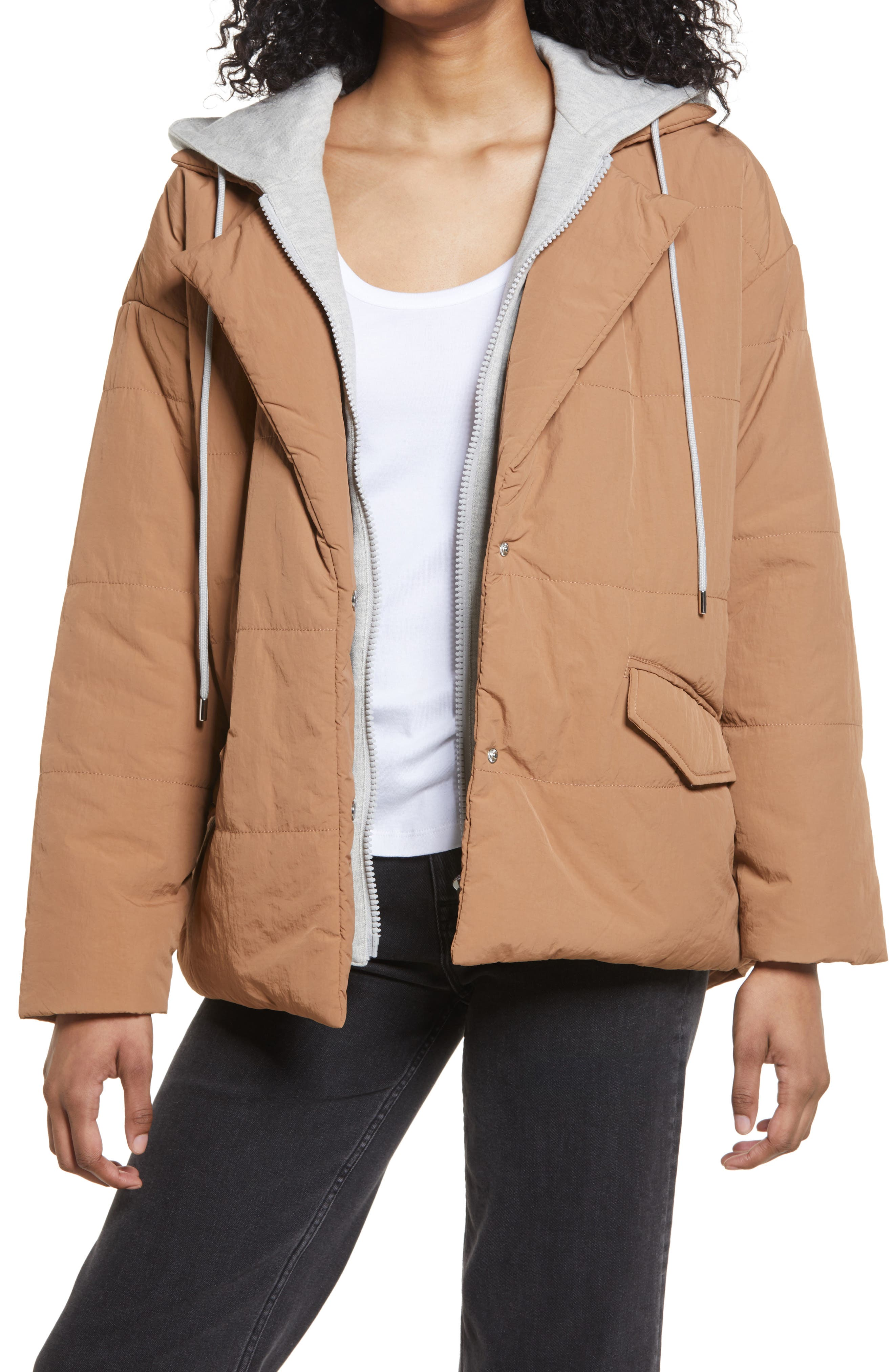 Women's Blanknyc Hooded Quilted Tie Waist Jacket, Size X-Large - Brown