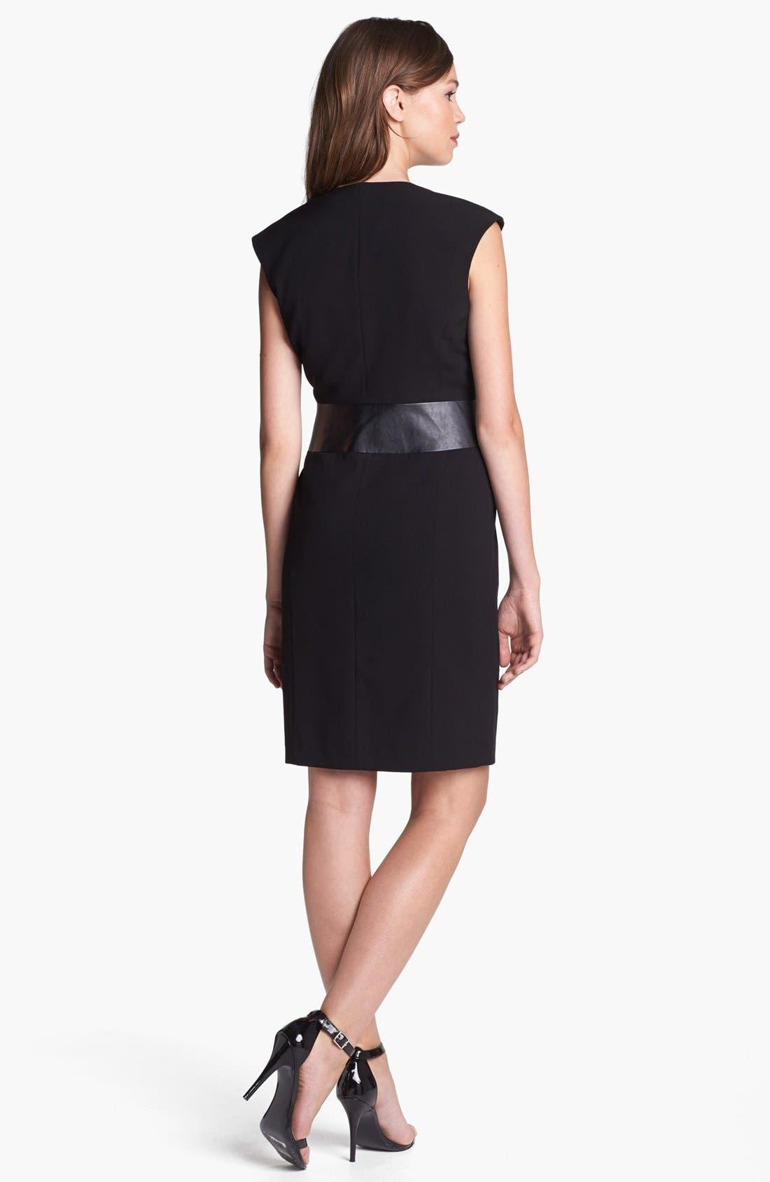 ,                             Faux Leather Waist Wrap Dress,                             Alternate thumbnail 2, color,                             003