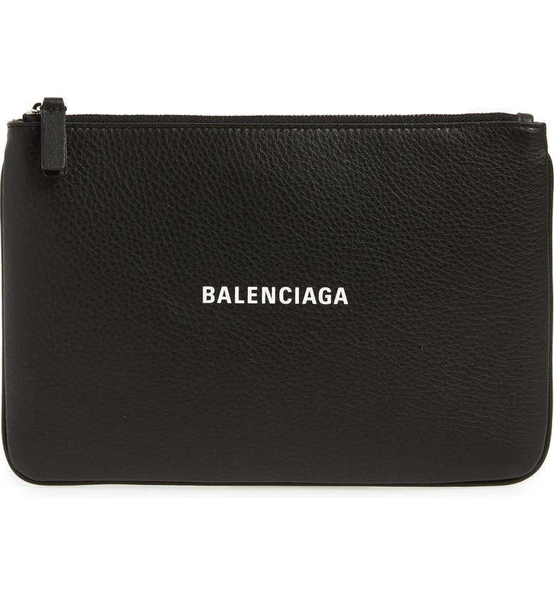 BALENCIAGA Large Everyday Calfskin Pouch, Main, color, 001