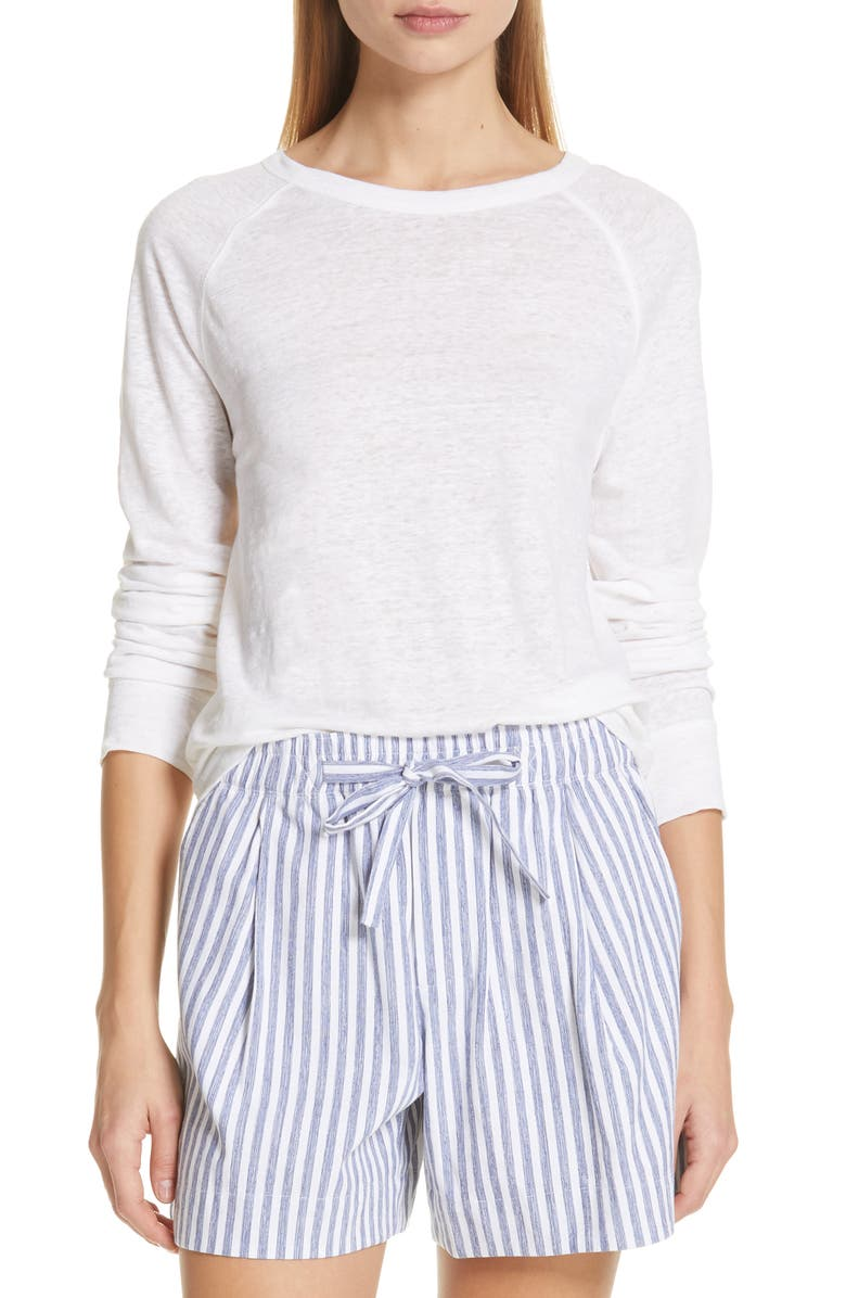VINCE Long Sleeve Crewneck Linen Top, Main, color, OPTIC WHITE