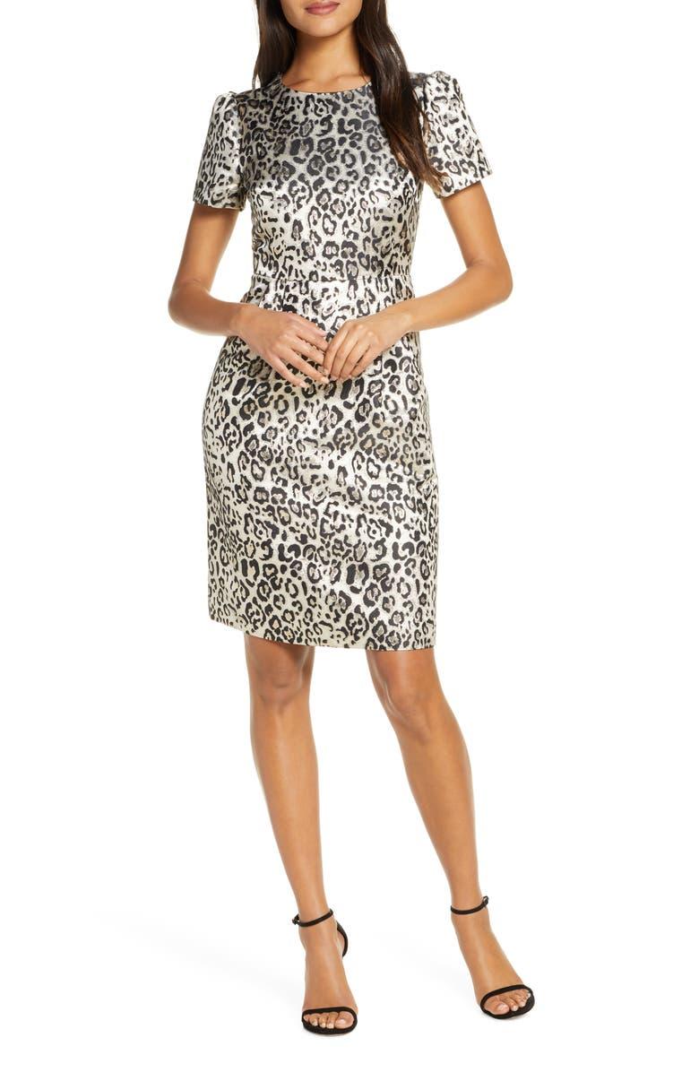 RACHEL PARCELL Metallic Leopard Print Dress, Main, color, 235