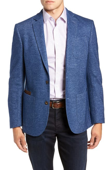Image of FLYNT Blue Two Button Notch Lapel Regular Fit Soft Knit Sport Jacket