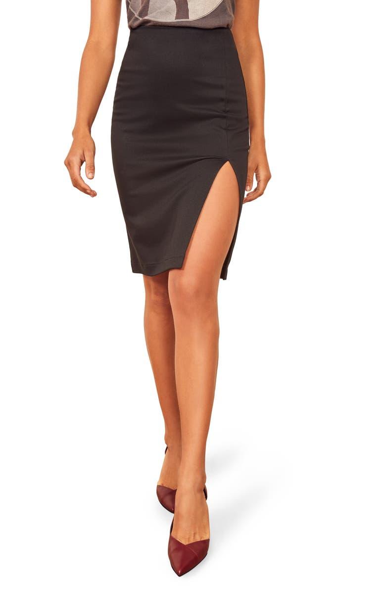 REFORMATION Indigo Skirt, Main, color, BLACK