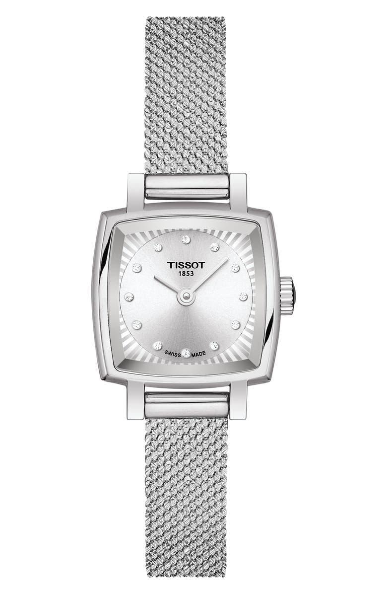 TISSOT Lovely Square Diamond Bracelet Watch, 20mm, Main, color, SILVER