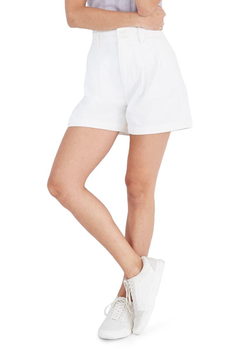 MADEWELL Pleated Denim Shorts, Main, color, 100