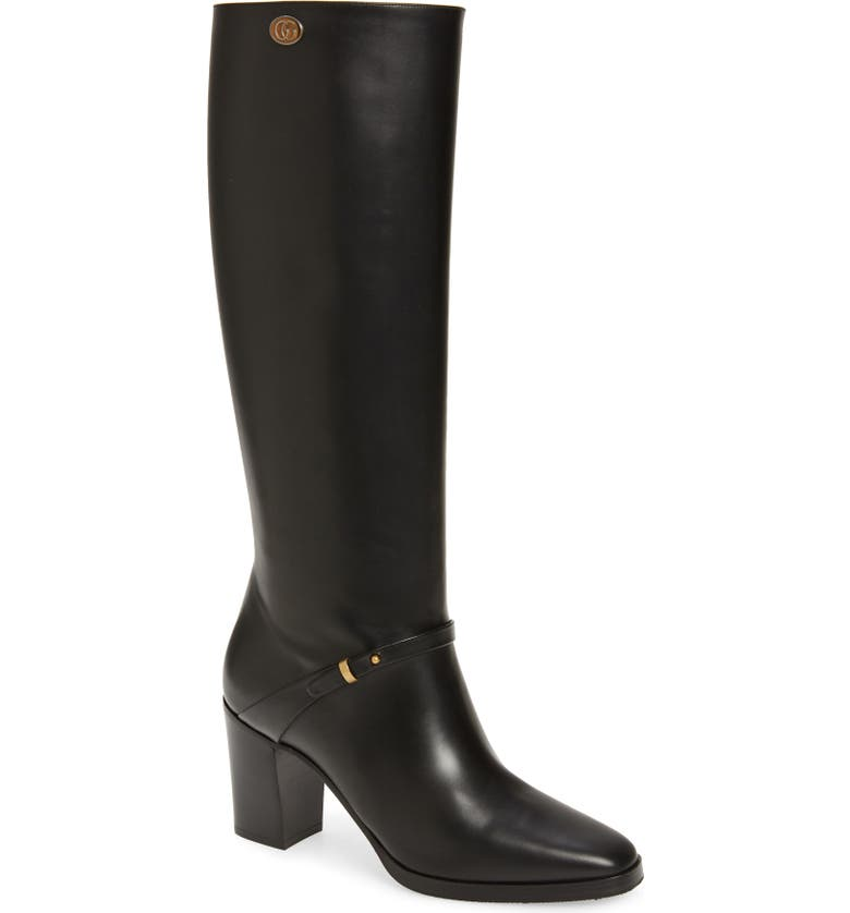 GUCCI Rosie Knee High Boot, Main, color, BLACK