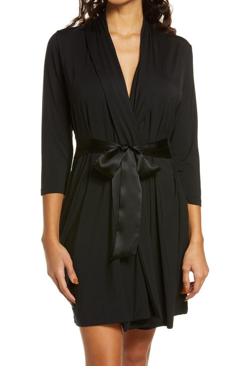 FLEUR'T Iconic Short Robe, Main, color, BLACK