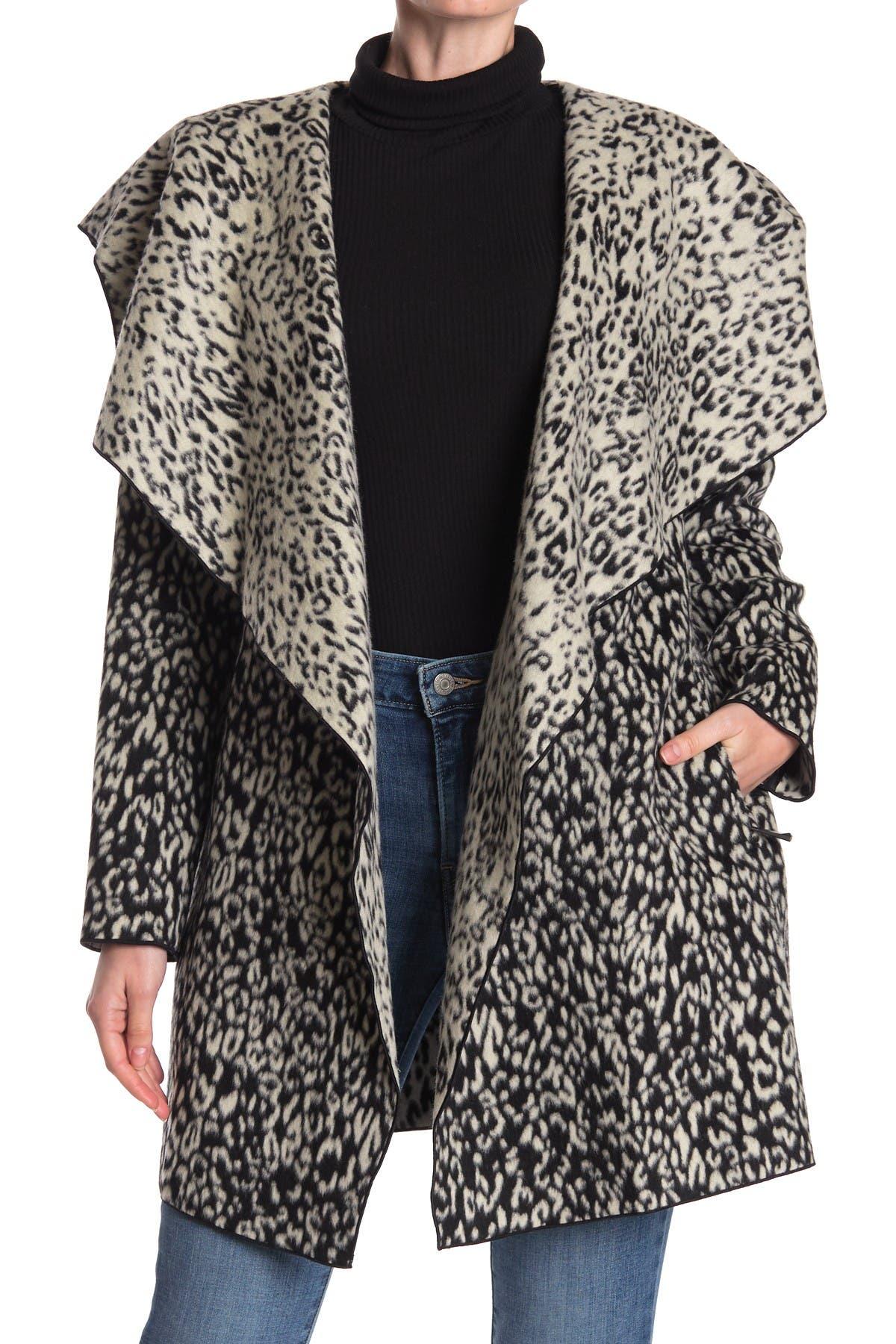 Image of BCBGMAXAZRIA Snow Leopard Hooded Wool Blend Wrap Coat