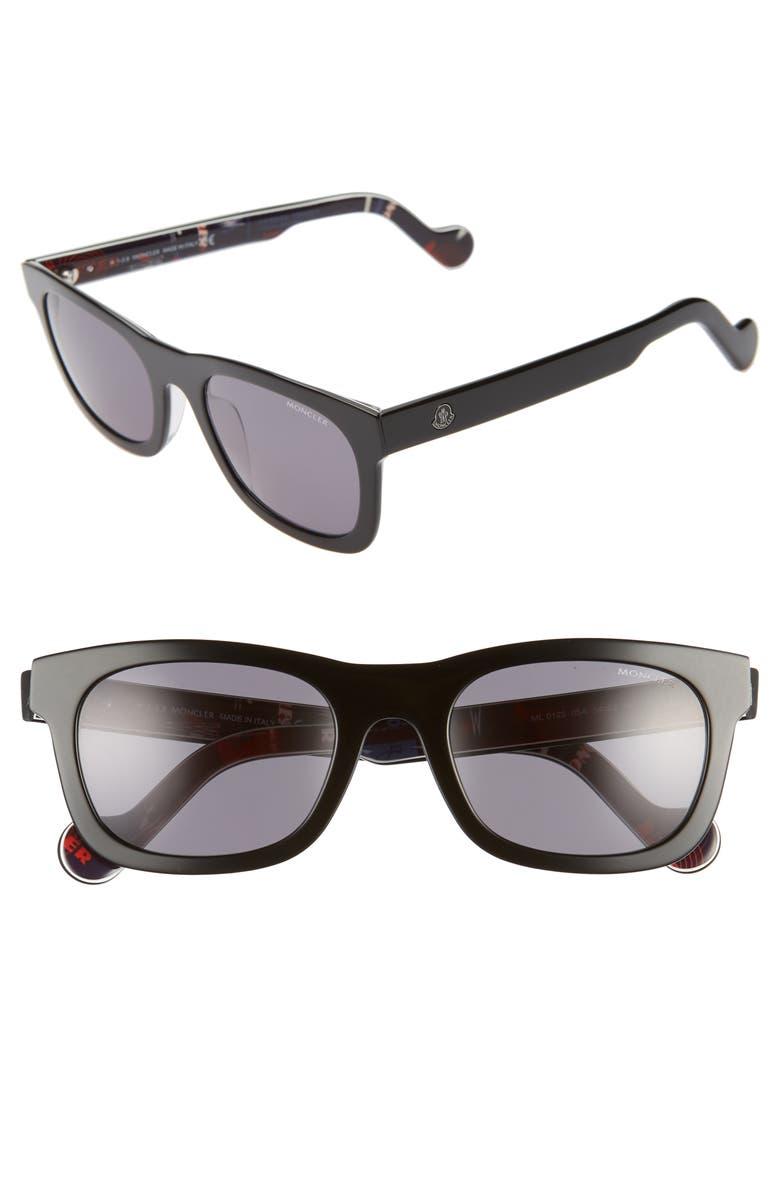 MONCLER 54mm Rectangular Sunglasses, Main, color, SHINY BLACK/ SMOKE
