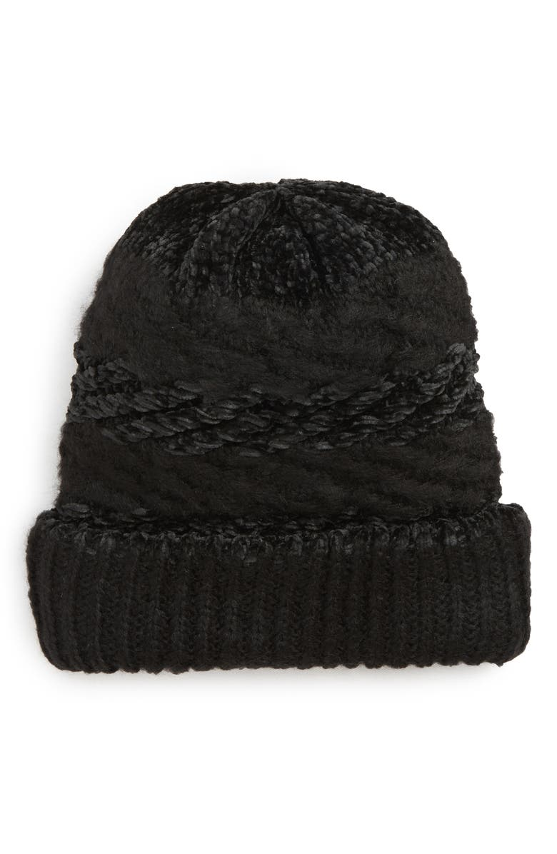 REBECCA MINKOFF Blocked Yarn Slouchy Beanie, Main, color, 002