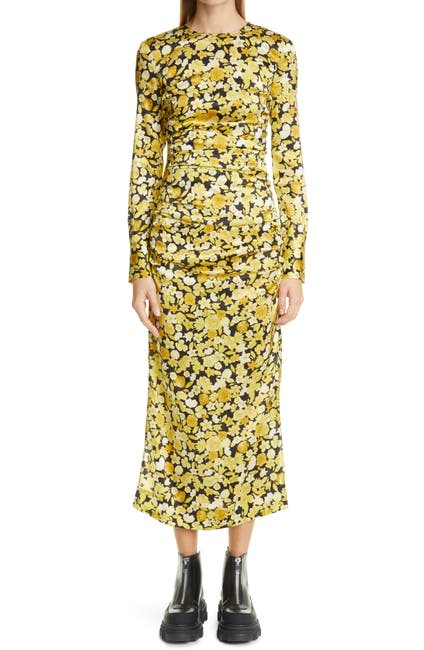 Image of GANNI Floral Print Ruched Long Sleeve Stretch Silk Satin Dress