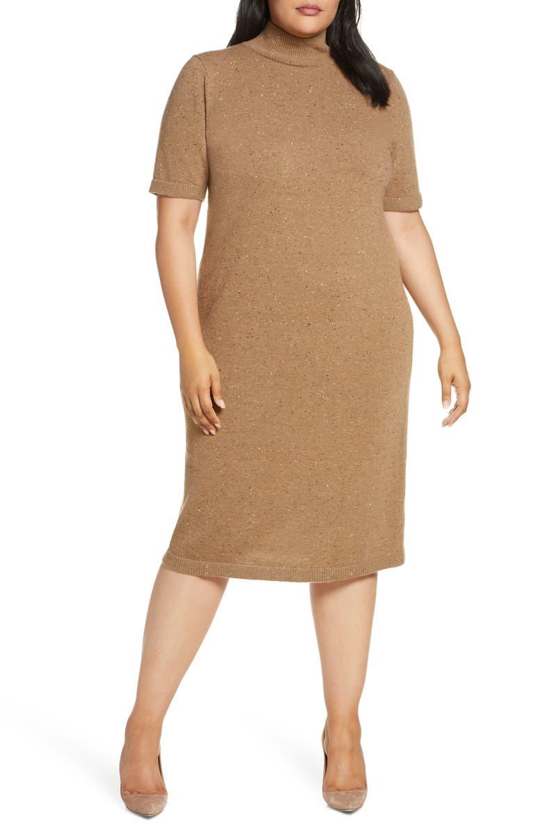LAFAYETTE 148 NEW YORK Wool & Cashmere Midi Sweater Dress, Main, color, TEAK MULTI