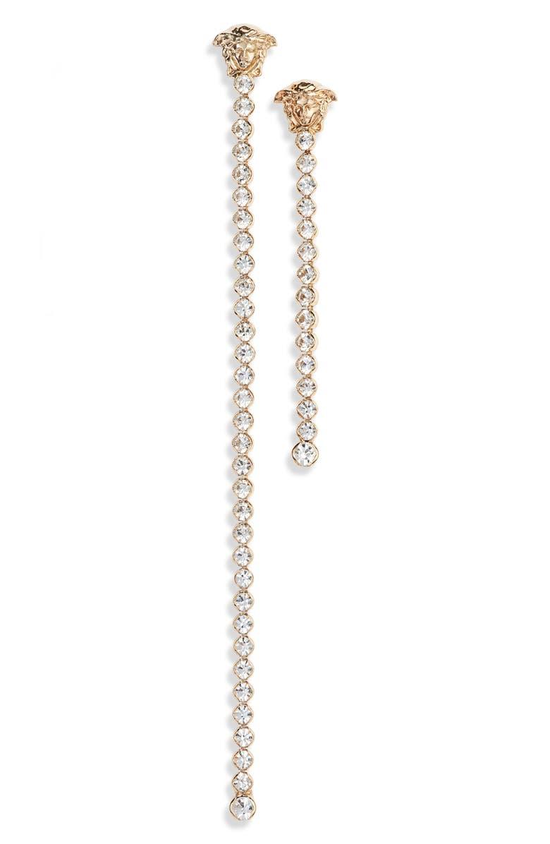 VERSACE Medusa Asymmetrical Crystal Linear Drop Earrings, Main, color, TRIBUTE GOLD