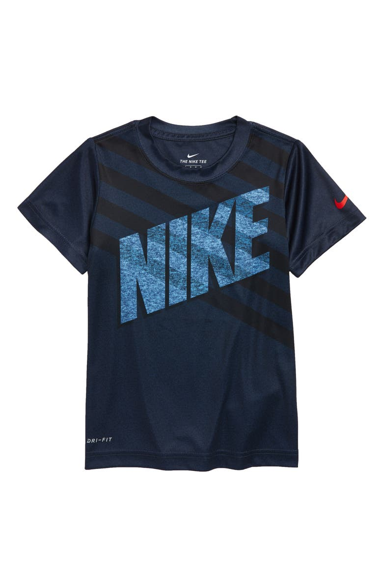 NIKE Dri-FIT Logo Graphic T-Shirt, Main, color, MIDNIGHT NAVY