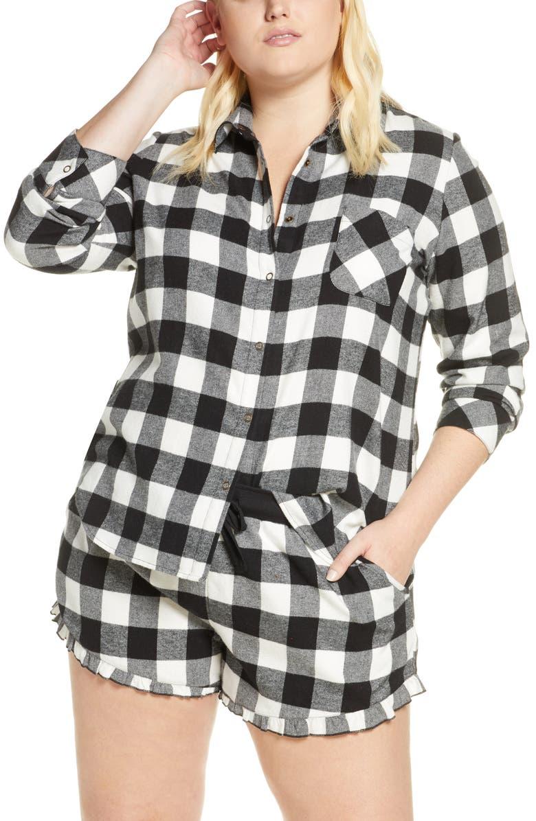 BP. Flannel Shortie Pajamas, Main, color, 001