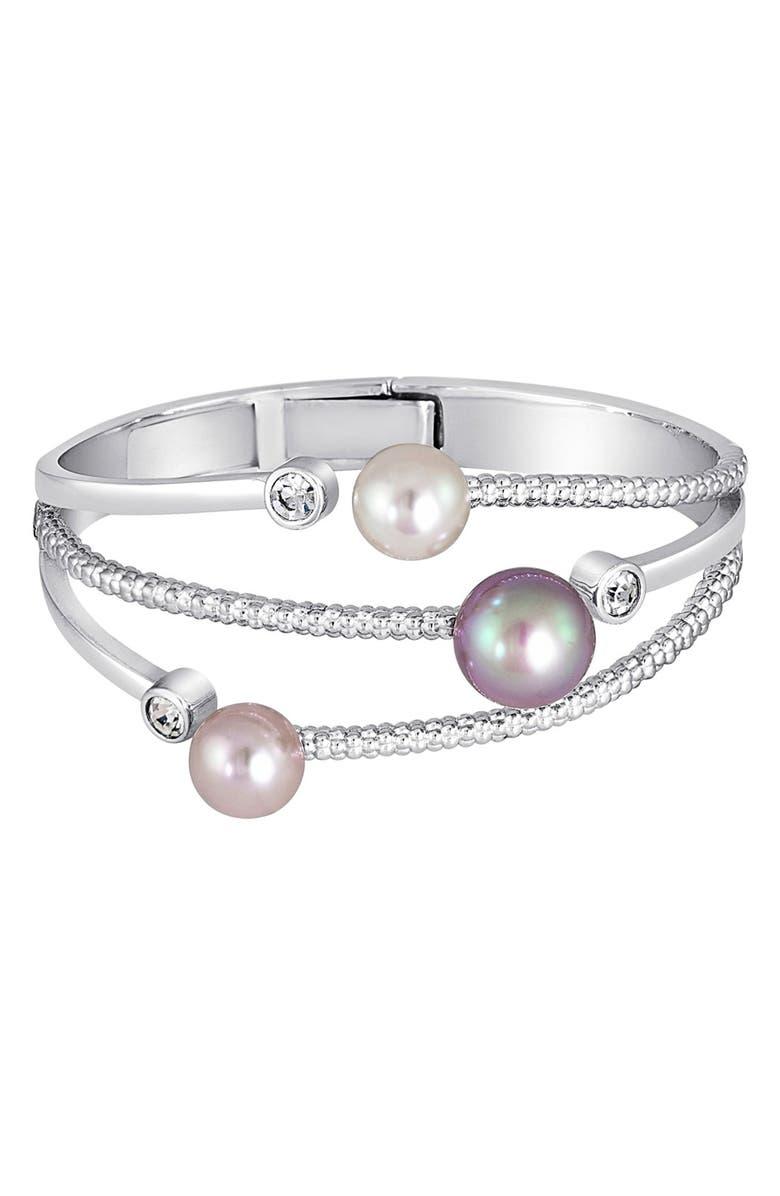 MAJORICA Simulated Pearl & Cubic Zirconia Hinge Bracelet, Main, color, 023