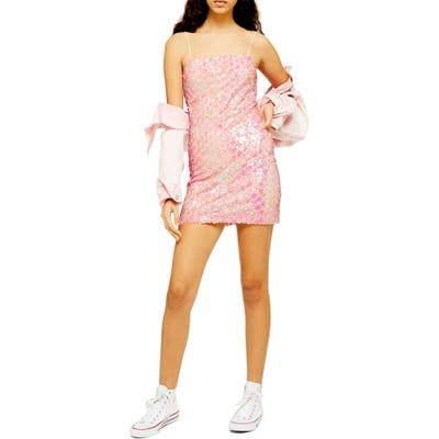 Topshop Sequin Minidress, US (fits like 0-2) - Pink