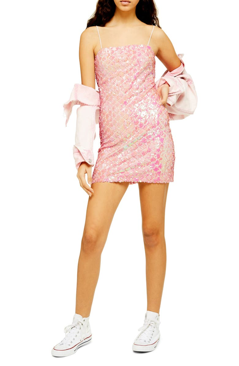 TOPSHOP Sequin Minidress, Main, color, PINK