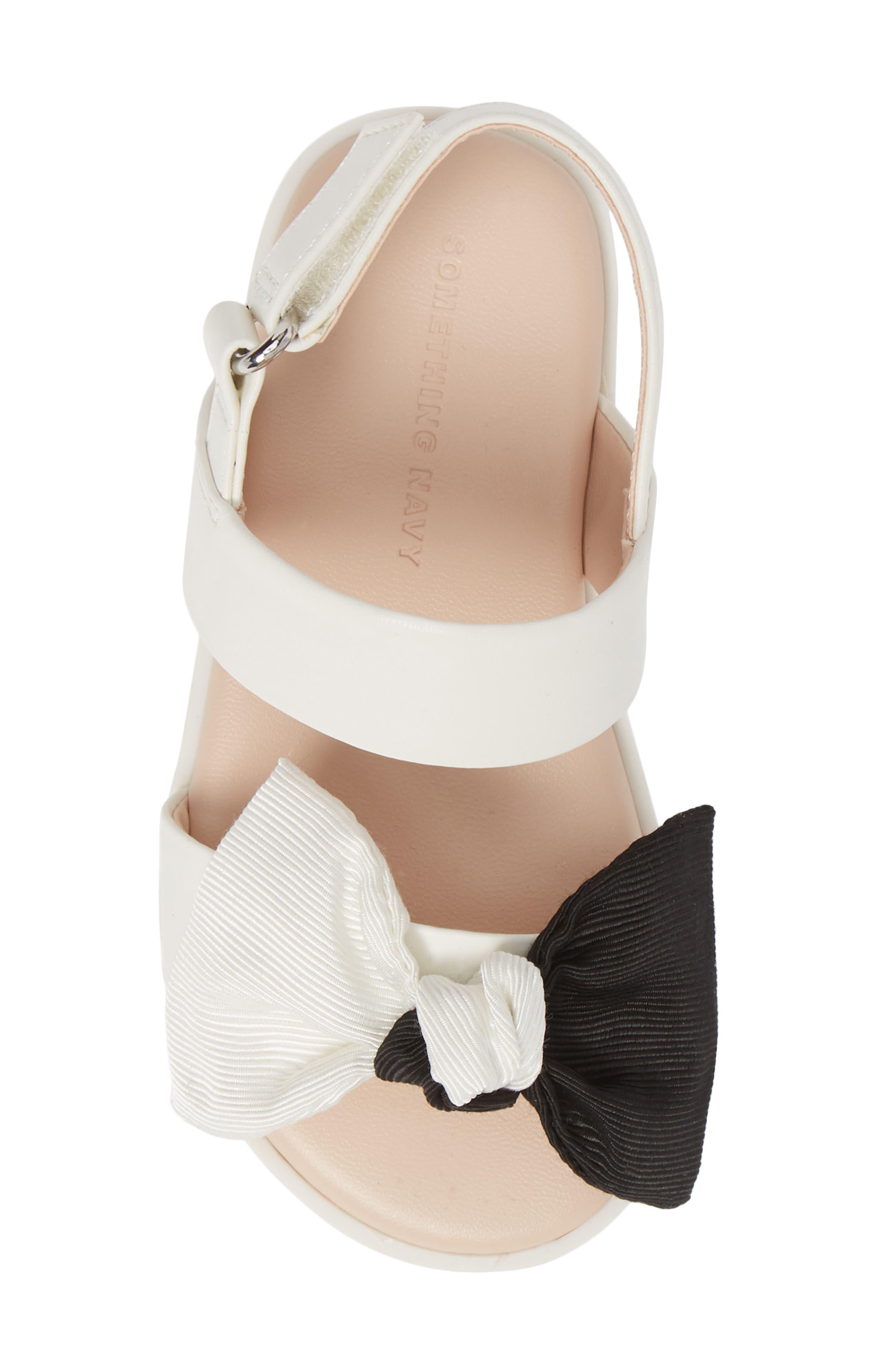 ,                             Chelsea Bow Sandal,                             Alternate thumbnail 5, color,                             WHITE/BLACK FAUX LEATHER