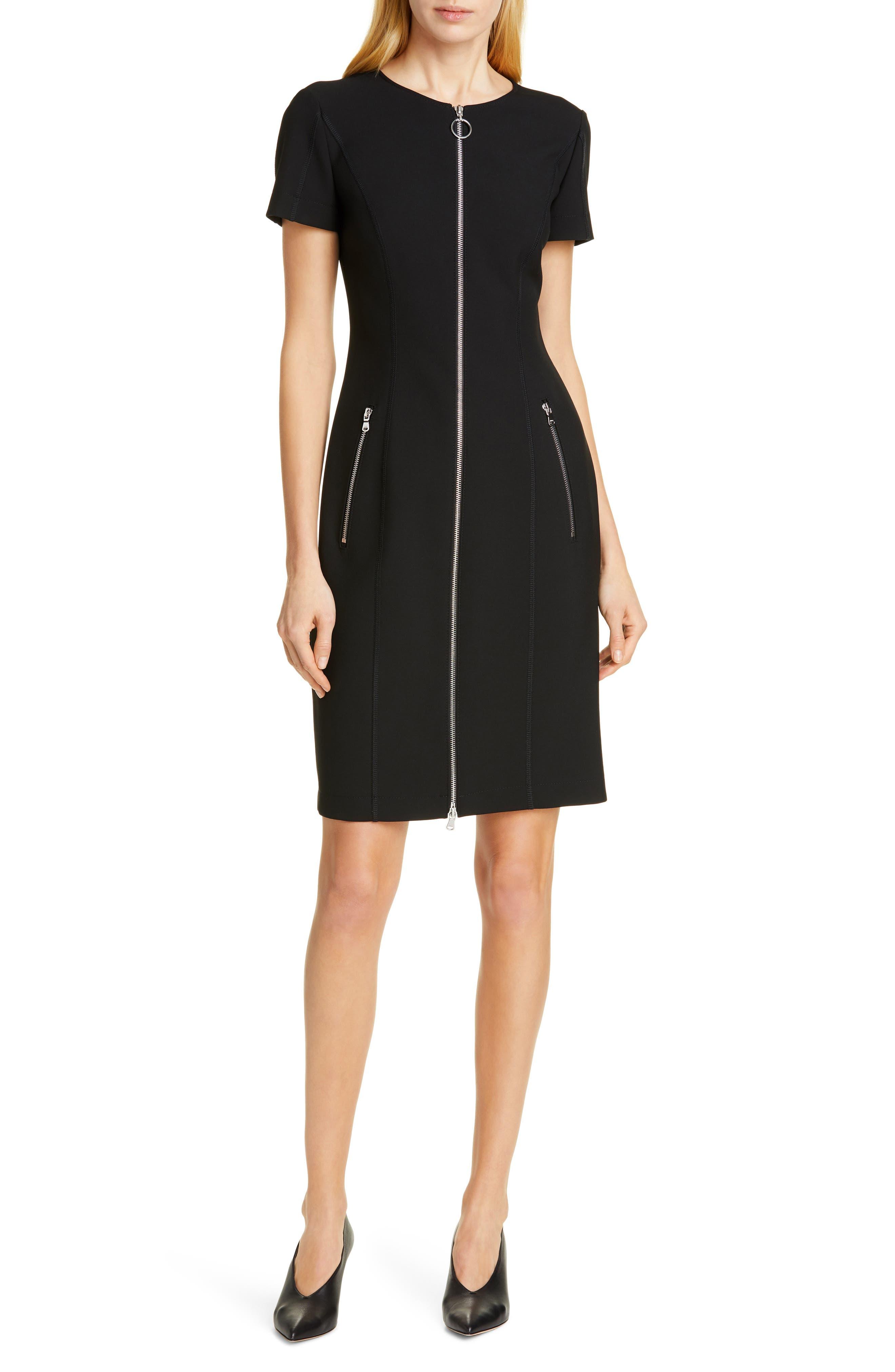 Hugo Ketia Front Zip Sheath Dress, Black