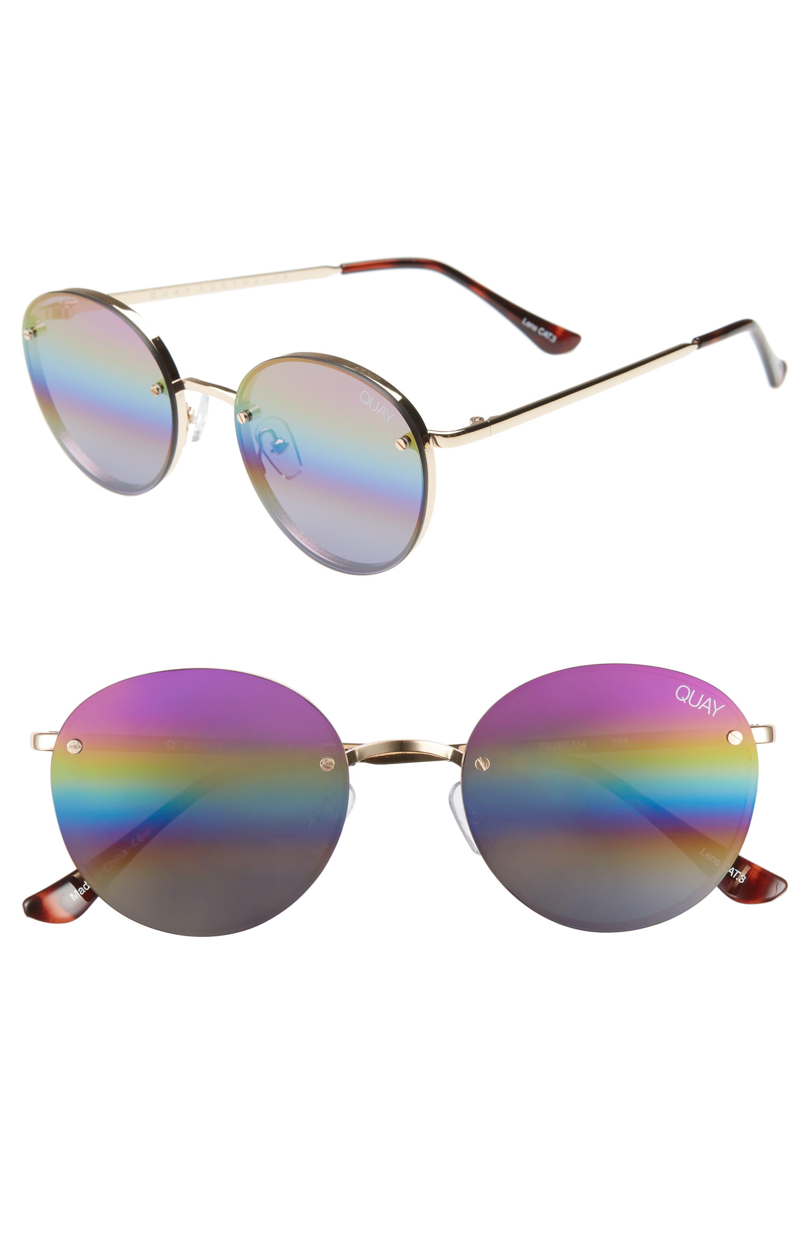 Quay Australia X Elle Ferguson Farrah 5m Round Sunglasses - Gold/ Purple Rainbow
