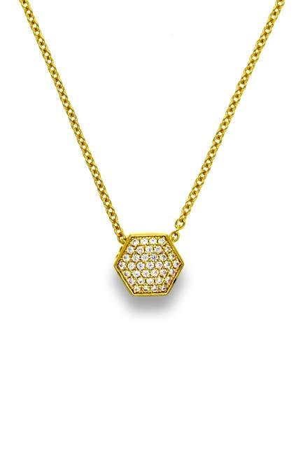 Image of Liza Schwartz 18K Gold Plated Sterling Silver Pave CZ Geo Pendant Necklace