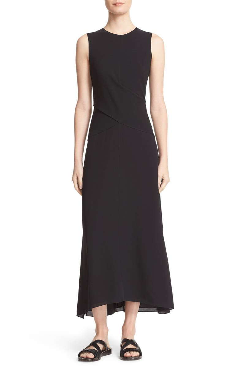 THEORY Parthenia Asymmetrical Midi Dress, Main, color, 001