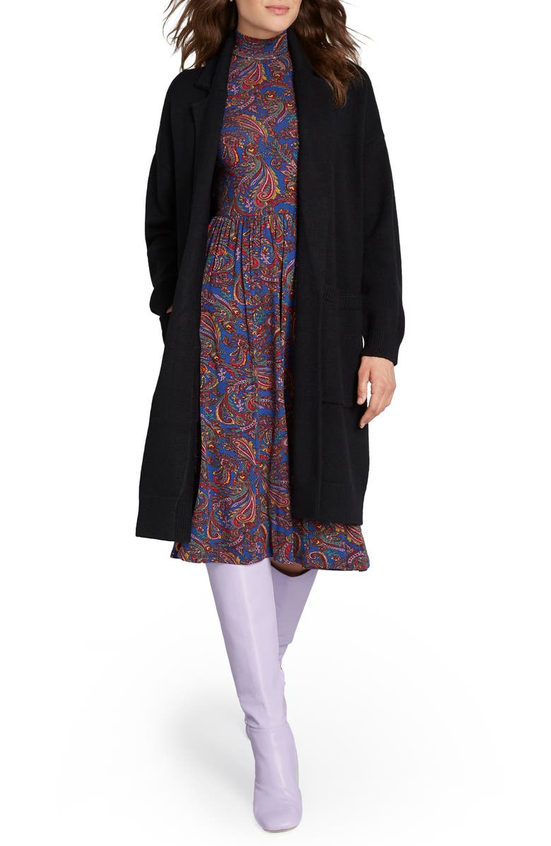 MODCLOTH Open Front Sweater Coat, Main, color, 001