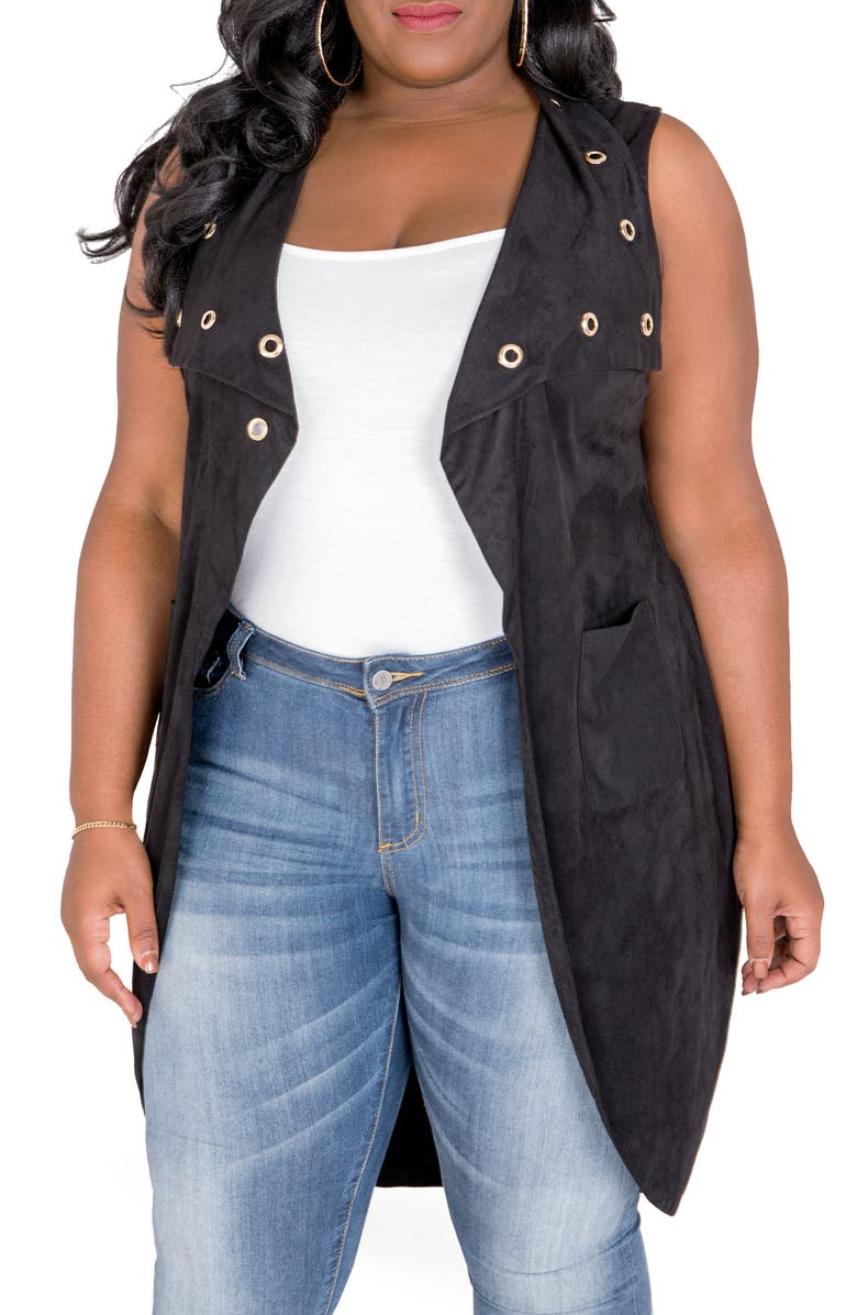 POETIC JUSTICE Kelis Long Faux Suede Vest, Main, color, BLACK