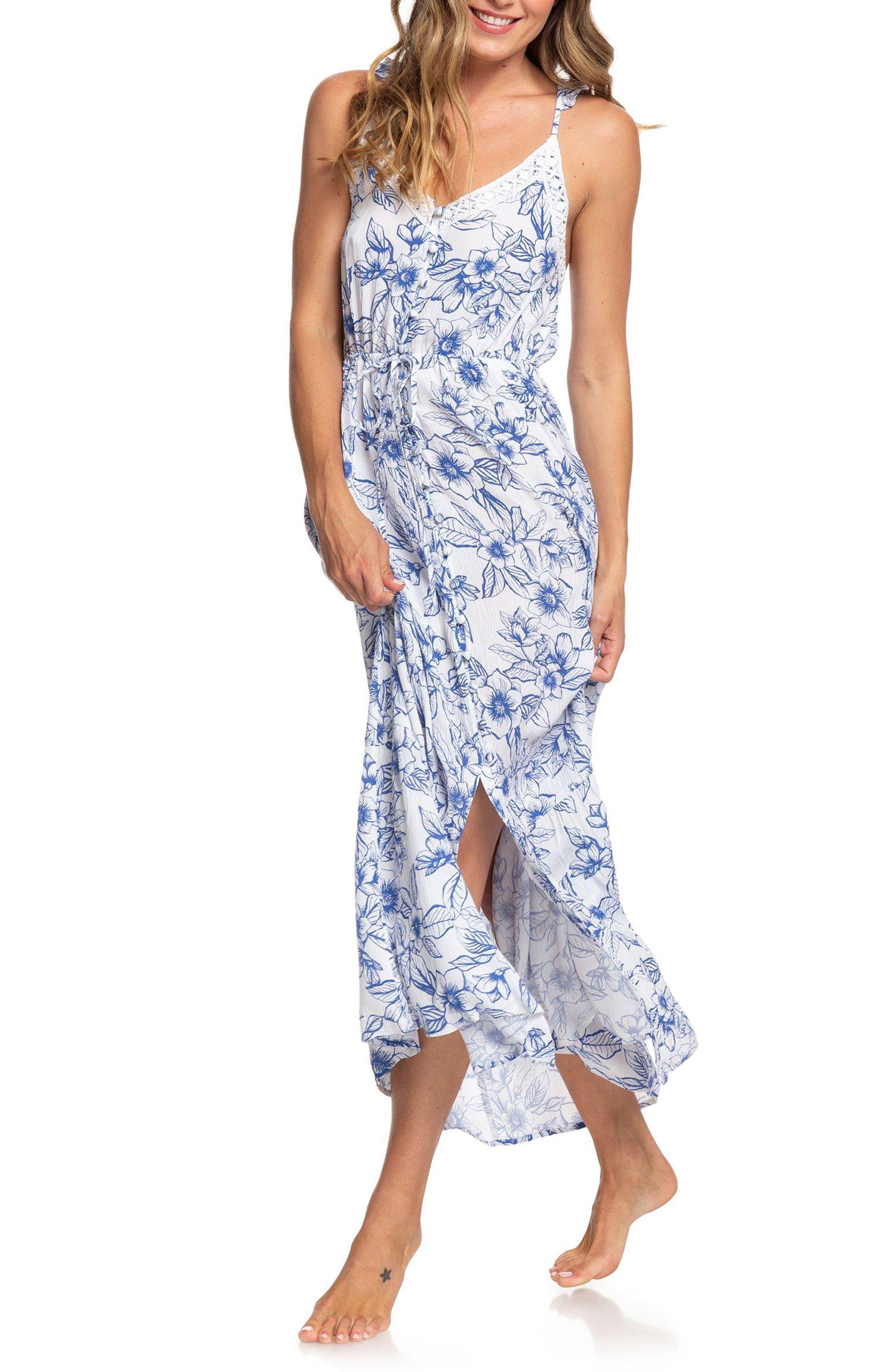 Roxy Hot Summer Lands Print Maxi Dress, White