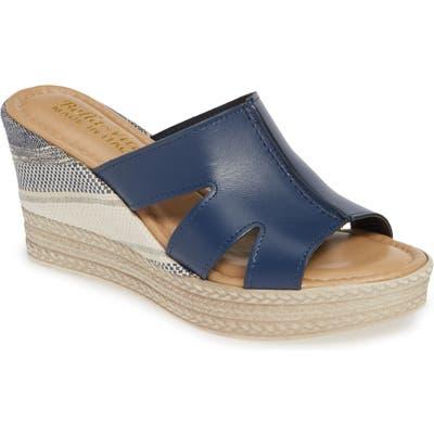 Bella Vita Rox Wedge Slide Sandal, Blue