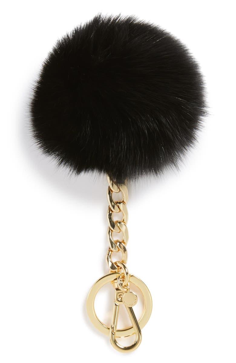 MICHAEL MICHAEL KORS Genuine Fox Fur Bag Charm, Main, color, 001