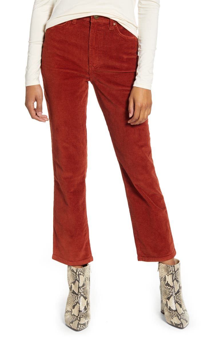 LEE High Waist Straight Leg Corduroy Ankle Pants, Main, color, BURNT HENNA CORD