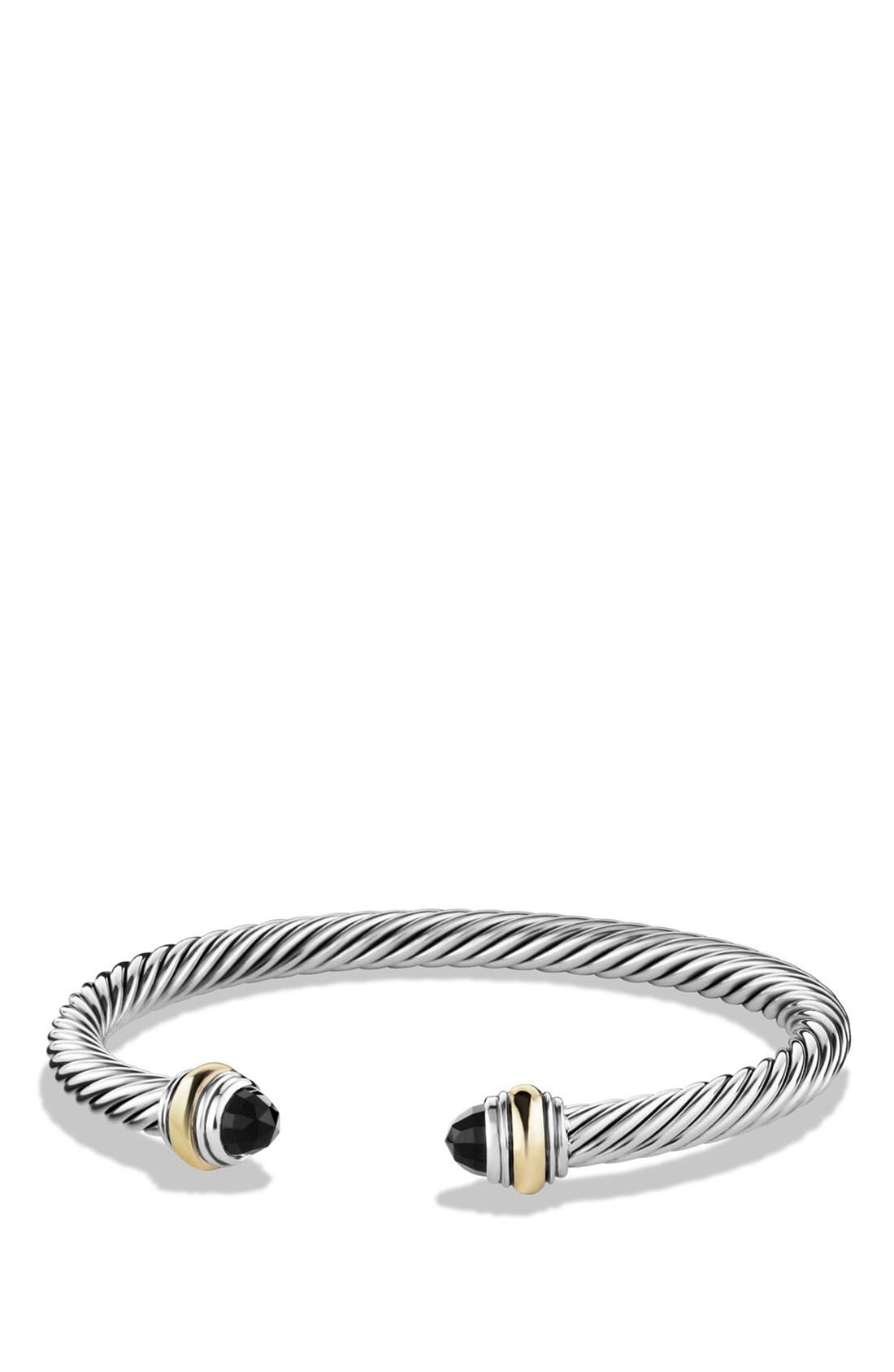 Cable Classics Bracelet with Semiprecious Stones & 14K Gold Accent, 5mm, Main, color, BLACK ONYX