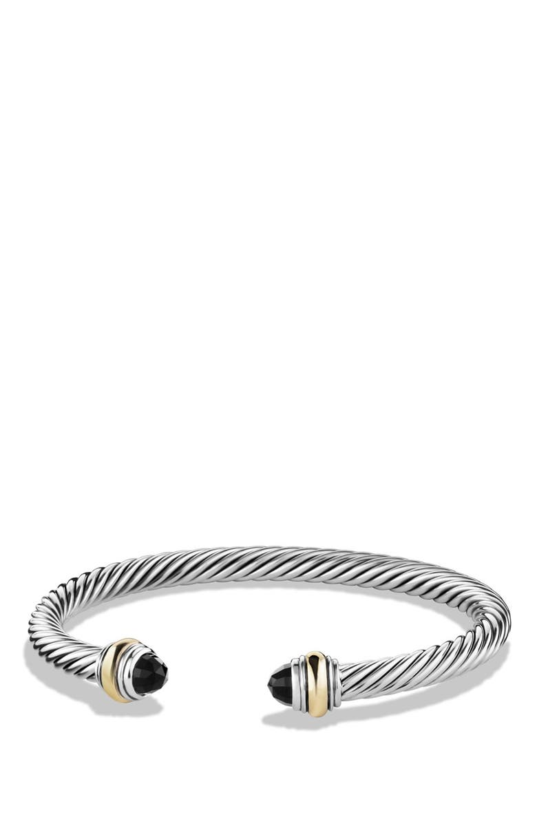 DAVID YURMAN Cable Classics Bracelet with Semiprecious Stones & 14K Gold Accent, 5mm, Main, color, BLACK ONYX