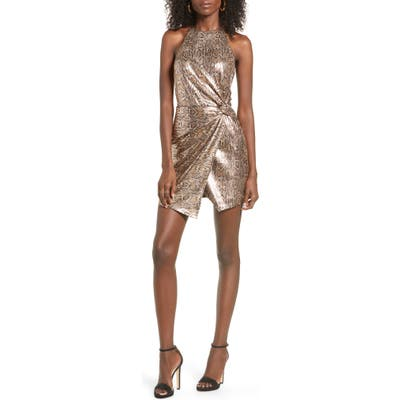 J.o.a. Snake Print Sequin Halter Minidress, Metallic