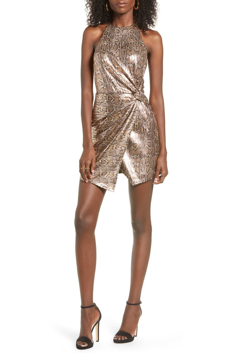 J.O.A. Snake Print Sequin Halter Minidress, Main, color, GOLD MULTI