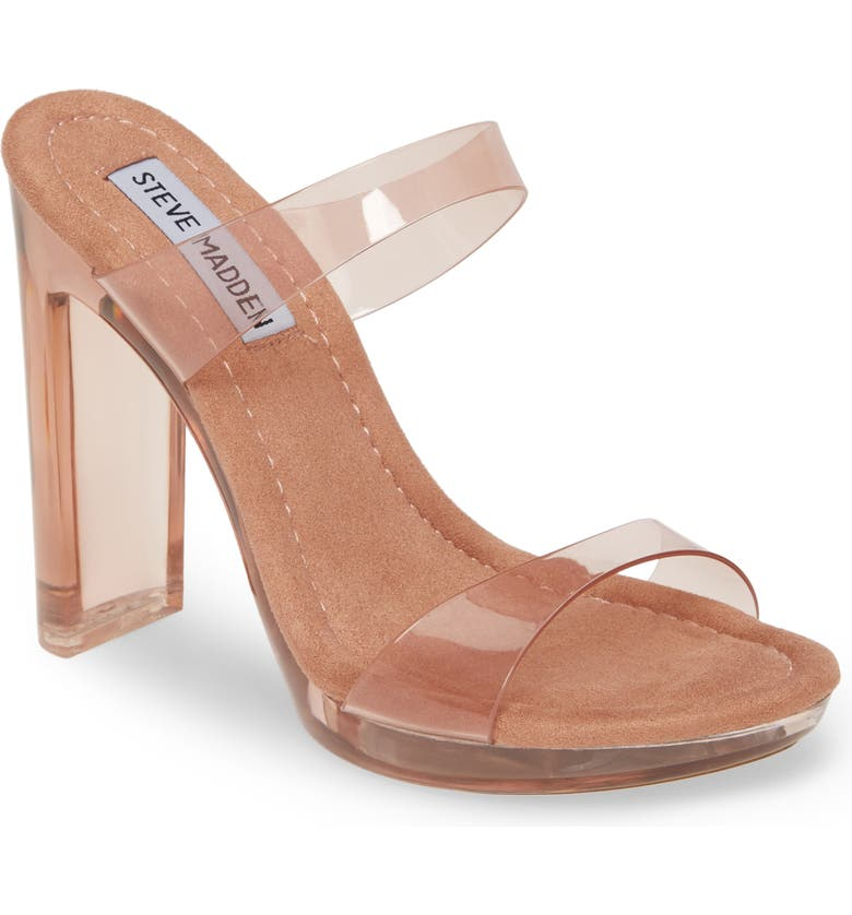 STEVE MADDEN Glassy Clear Platform Sandal, Main, color, TAN